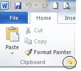 menu clipboard ms word