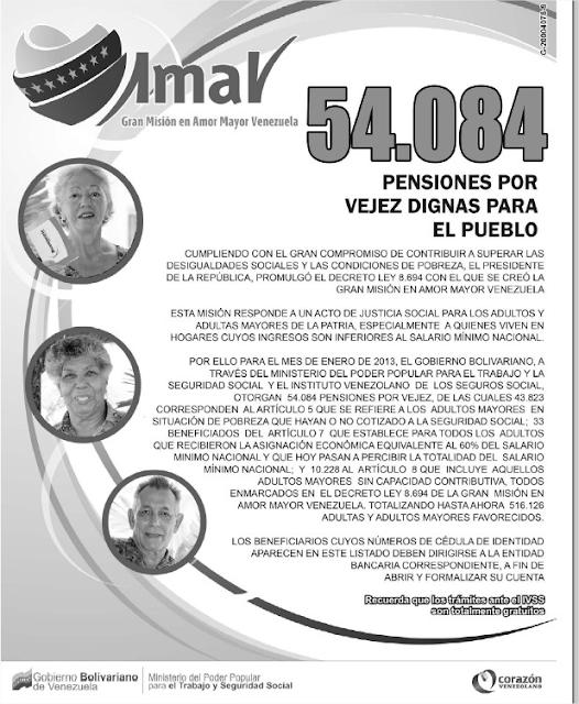 Misiones Venezolanas: Listado de Nuevos Pensionados Amor Mayor 9 de