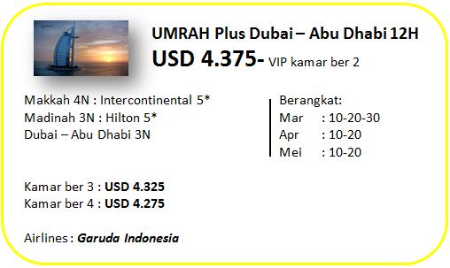 Paket Umroh Plus Dubai VIP 12 Hari