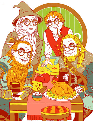 The Hobbit -- Michael Musto as Gandalf, Bilbo, and two dwarves.
