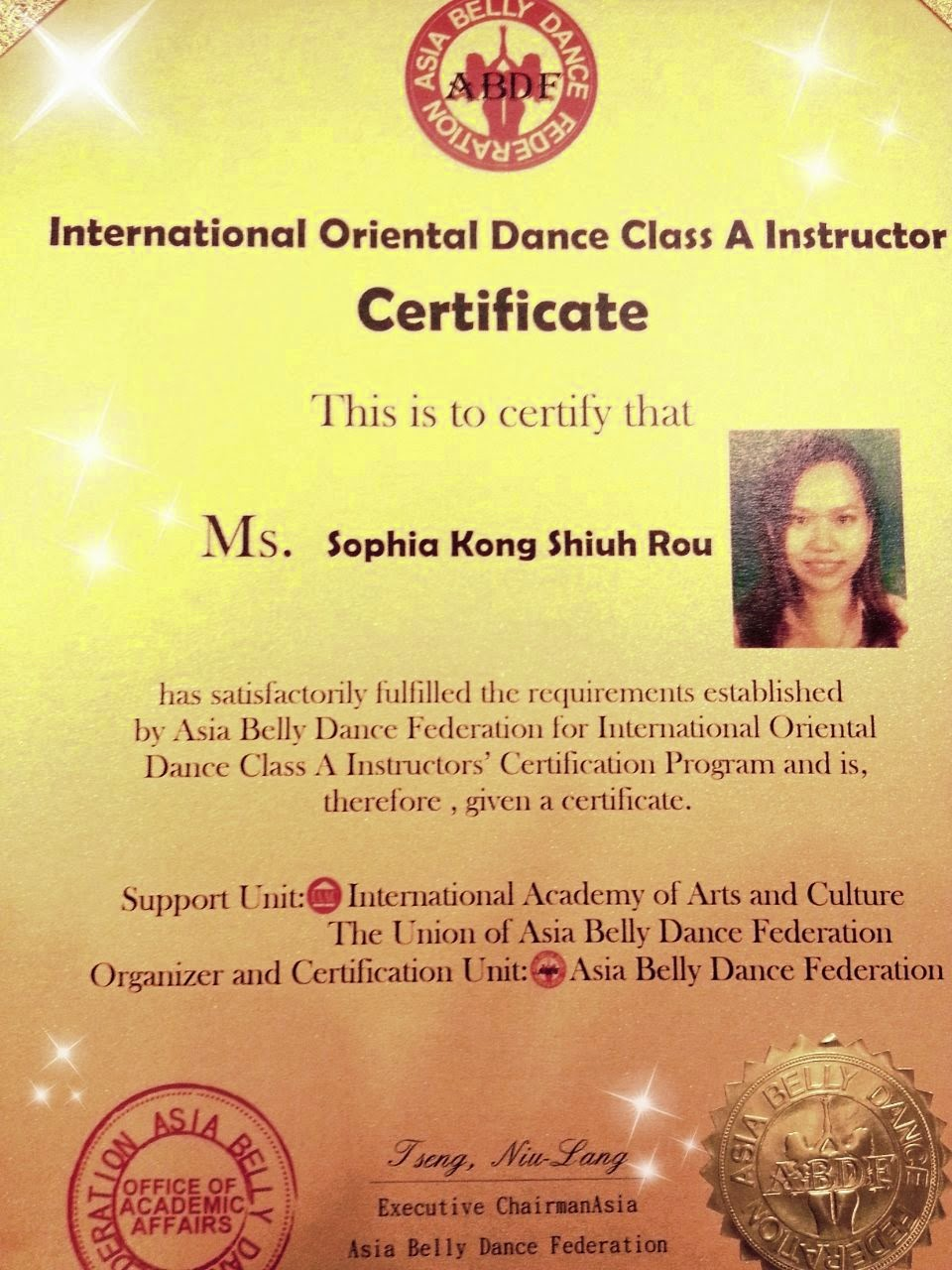 how to be a certified belly dance instructor