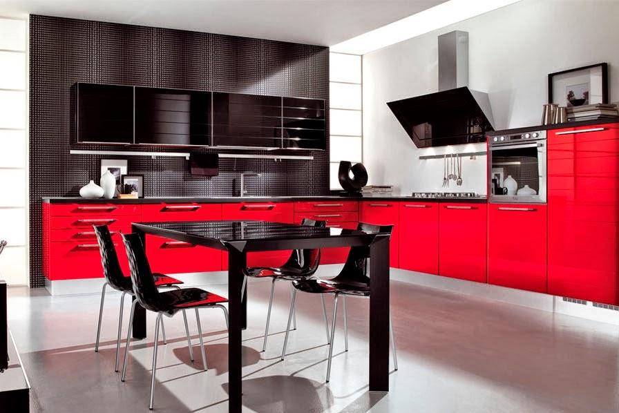 Dise o de cocinas en colores rojo y negro cocina y muebles - Cocinas de color rojo ...