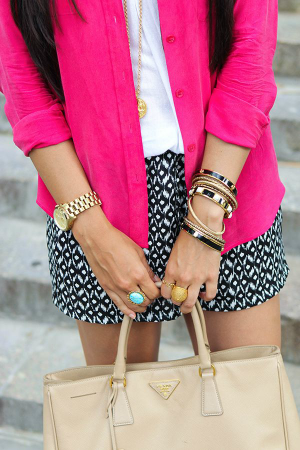 black white and pink outfit