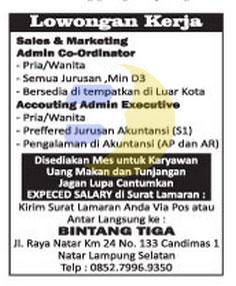 Bursa Kerja Lampung, BINTANG TIGA
