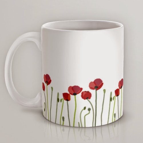Taza ilustrada Red Poppies