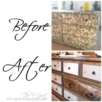 cowhide, dresser, rustic, cowboy, western, dresser re-do, studded dresser