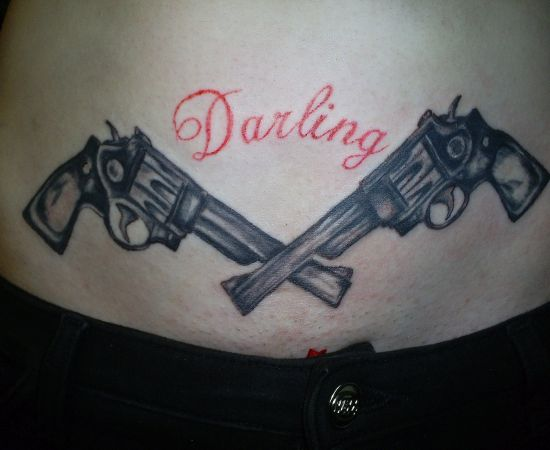 Bridal and fashion gun tattoos on hips for Gun tattoos for girls