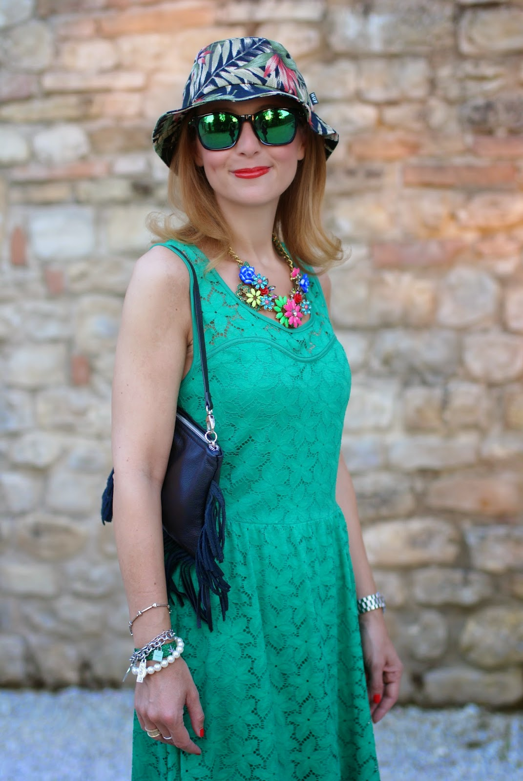 Morgan de toi lace dress, fringed bag, tropical bob hat, oakley green sunglasses, Fashion and Cookies, fashion blogger