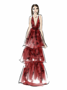 Zendaya Dress Illustration Golden Globes