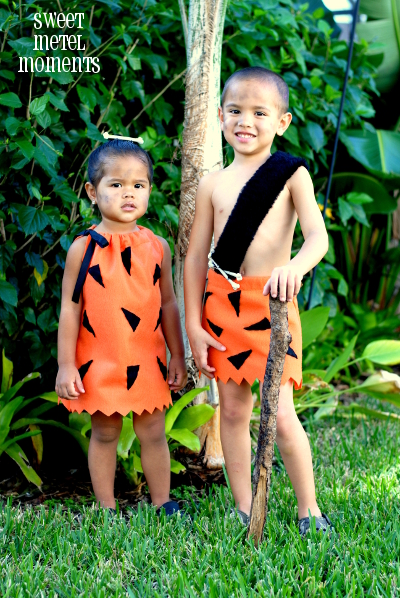 the pebbles and bam bam costumes are probably my most favorite skylar and brody even let me put makeup on them so it looked like they had dirt all over