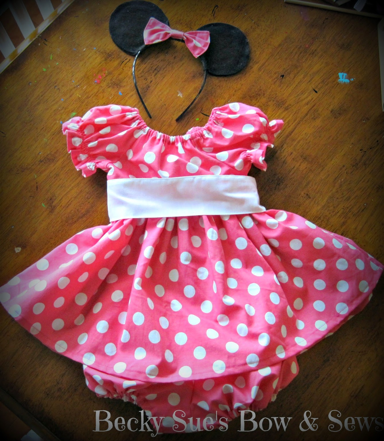 Miss Mouse Pink & White polka dot dress and bloomers by #BeckySuesBowAndSews available through www.craftingincrazytown.blogspot.com