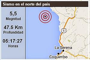 Sísmo de 5,5 grados sacude norte de Chile, 1 de Abril de 2015