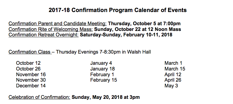 Confirmation Program