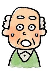 おじいさんの表情のイラスト(驚き)