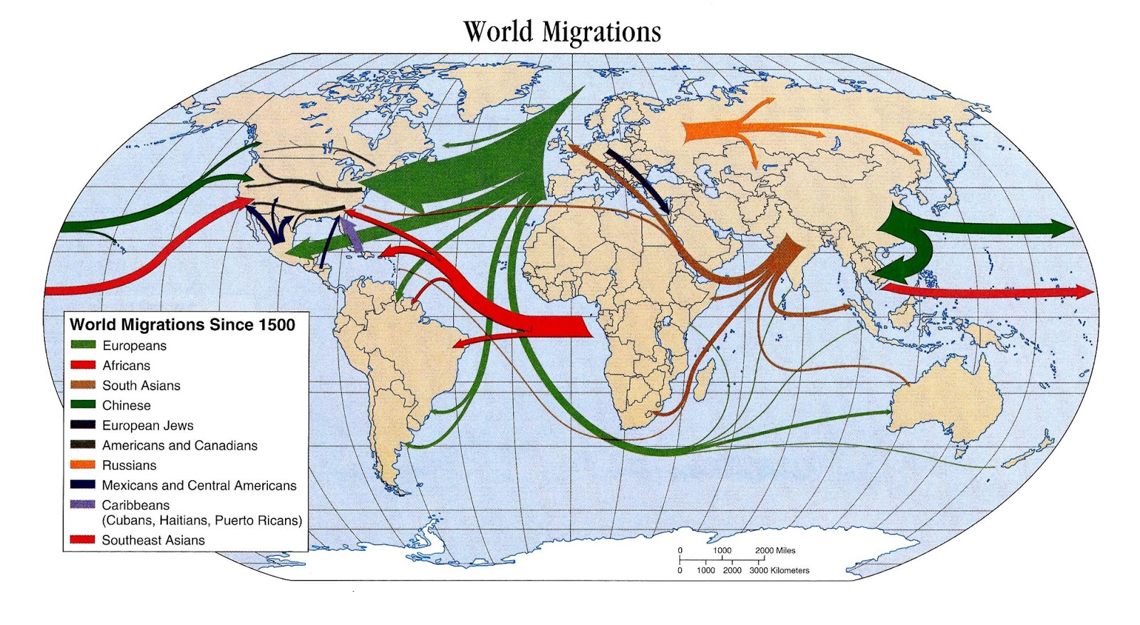 map world migrations since 1500