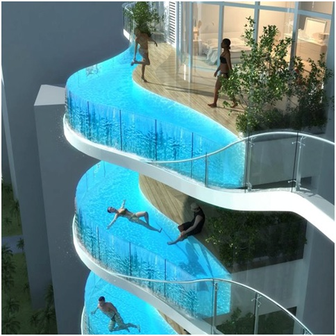 Swimming pools at the front. Facade pools