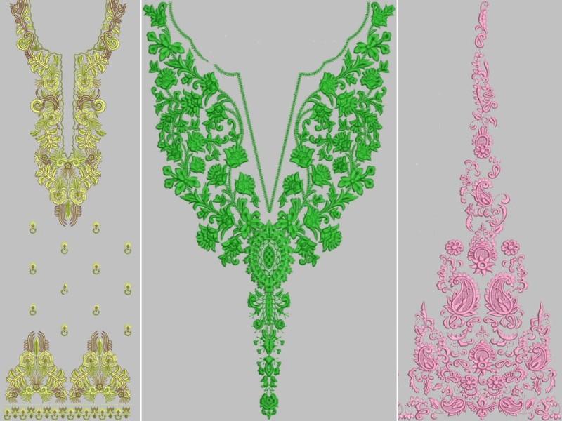 Embroidered neckline designs d panels design