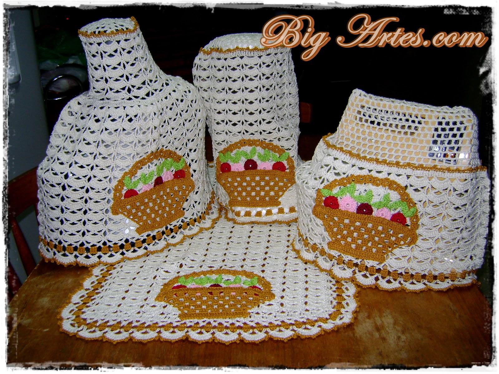 Jogo de cozinha em crochê por Gilsa Gemelli .