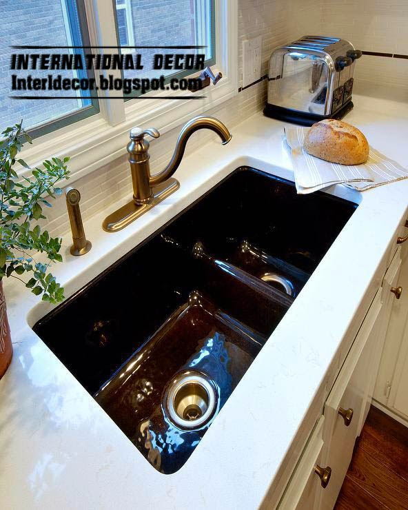 undermount kitchen sinks with copper faucet, double kitchen sink