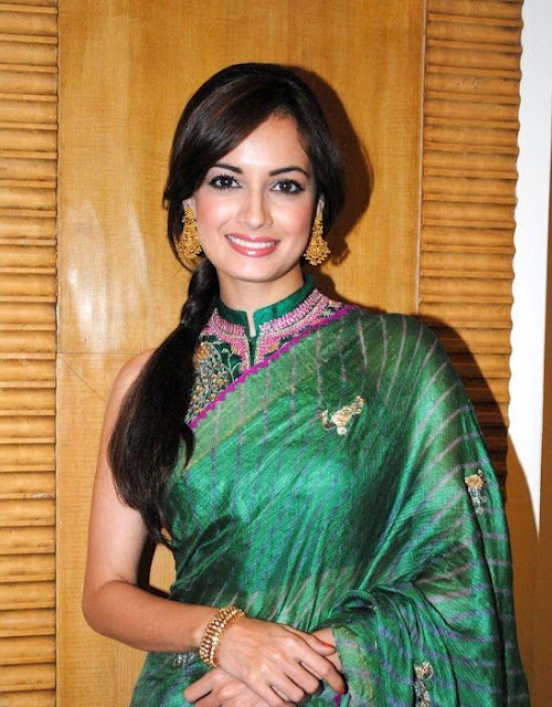 Sexy Dia Mirza in Green Saree HD Wallpapers