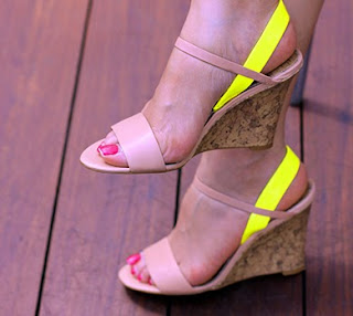Loft Ashlyn Colorblocked Slingback Wedge Sandals Yellow