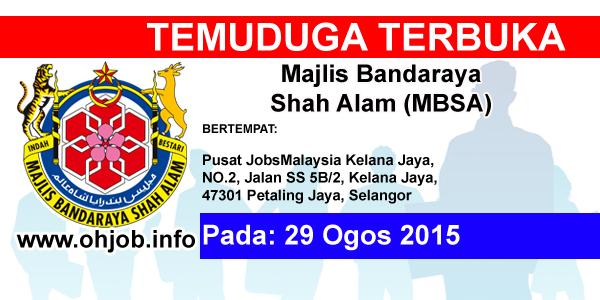 Jawatan Kerja Kosong Majlis Bandaraya Shah Alam (MBSA) logo www.ohjob.info ogos 2015