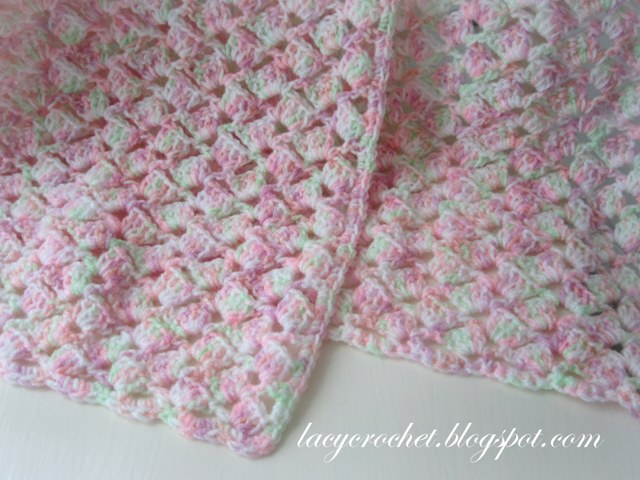 Free Crochet Pattern Lacy Baby Blanket : Lacy Crochet: Summer Baby Blanket in Variegated Yarn, Free ...