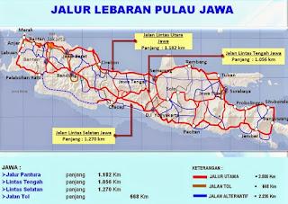 Peta Jalur Mudik Lebaran Lengkap P. Jawa