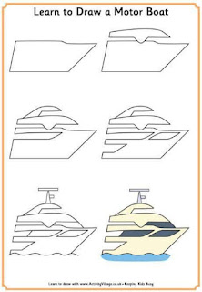 Cara Menggambar Kapal Motor Boat