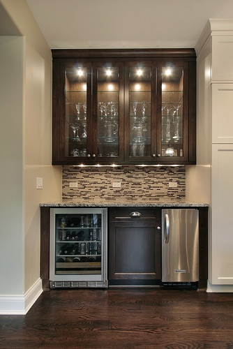 small butlers pantry in hallway brown mosaic glass tile