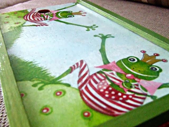 pudełko na kredki decoupage motyw żaby decoupage box
