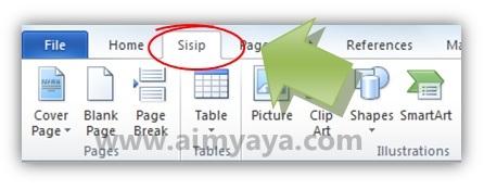 Gambar: Contoh hasil pergantian nama tab ribbon Insert menjadi Sisip