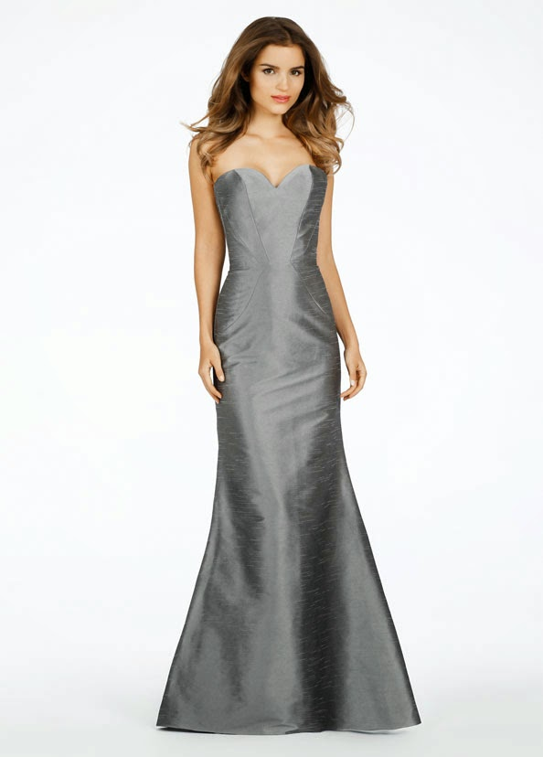 "Platinum dupioni delicate fluted ""bridesmaid dresses"". Strapless love neckline with contoured style collections."