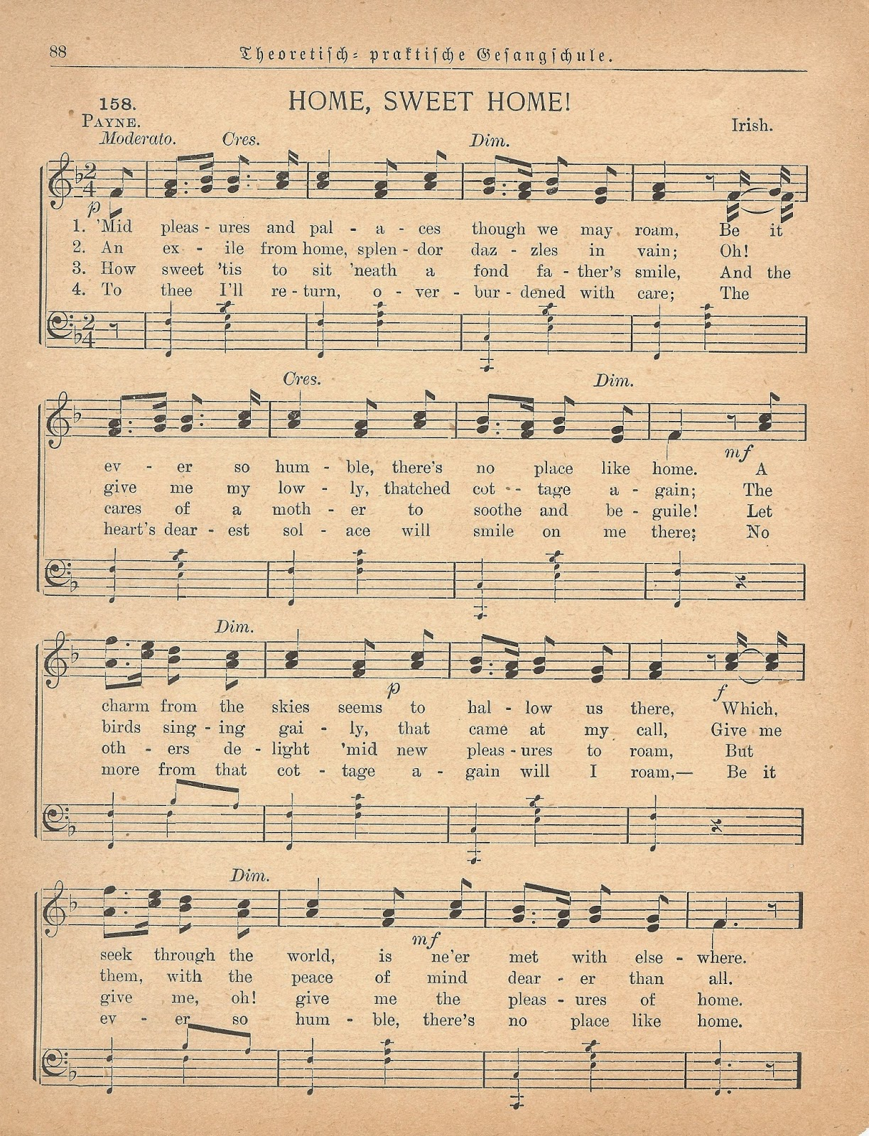 Home Sweet Home Antique Sheet Music Printable | www.knickoftime.net