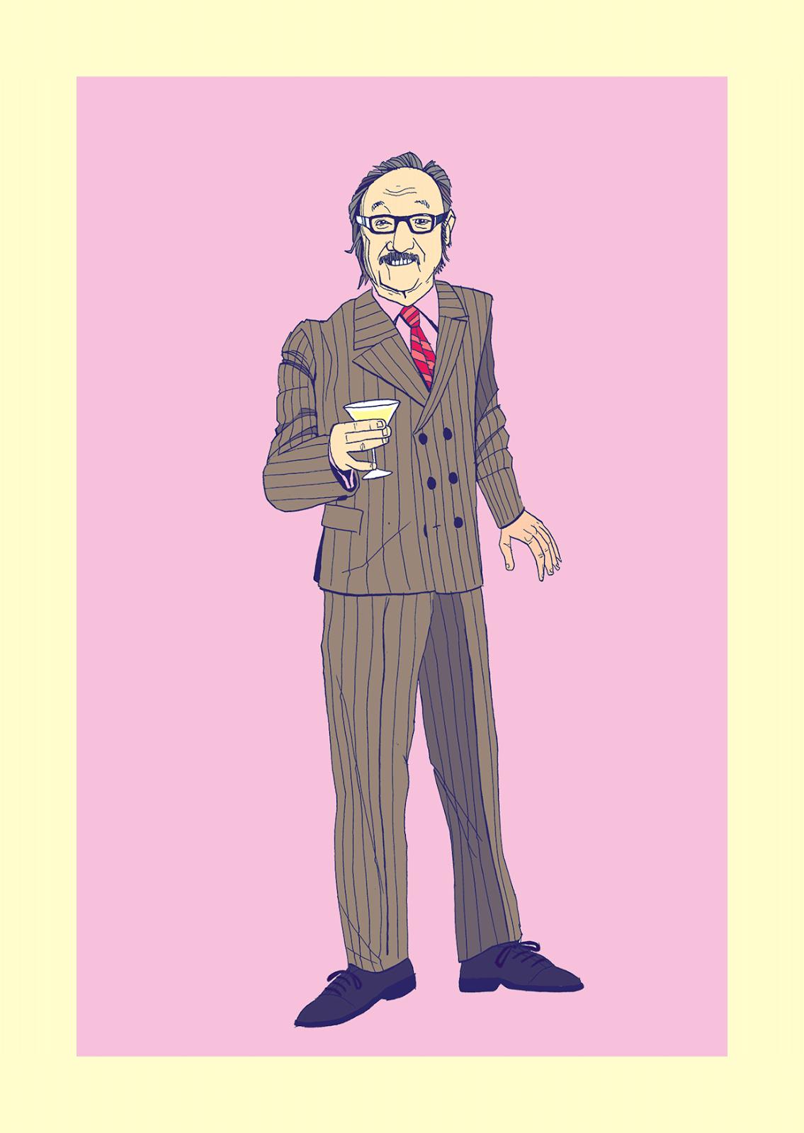 Gene Hackman Royal Tenenbaum Illustration