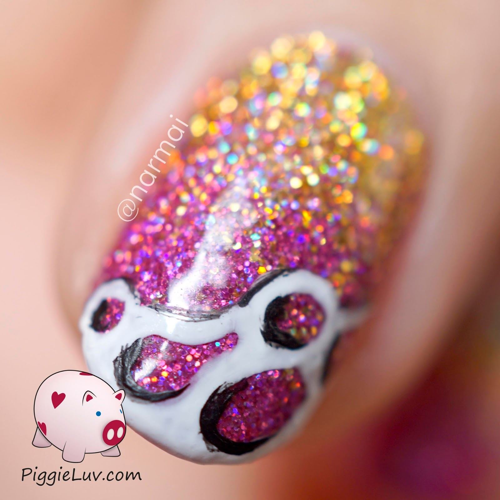 Piggieluv glitter gradient nail art ft girly bits digital nails i painted the design on top with acrylic paint and my basic one gold detail brush from christrio scotland its sort of a doodle and after i did the white prinsesfo Gallery