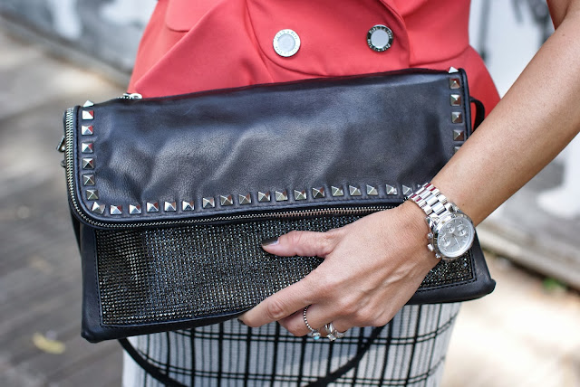 Zara leather studded clutch, Michael Kors silver watch, Fashion and Cookies, fashion blogger