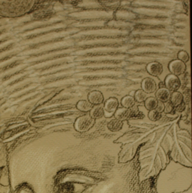 plenty, abundance, detail, basket, drawing, grapes, shading, charcoal, conte, grayscale, gray, leaves, vine, basketweave, weave, eyes, allegorical, figurative, woman, human, personification, new, baroque