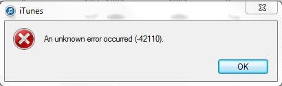 Error -42110 iTunes