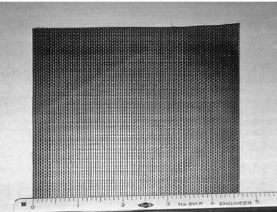 Photograph of a woven geotextile.