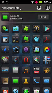 Screenshots of the Andy GO Launcher Theme for Android mobile, tablet, and Smartphone.