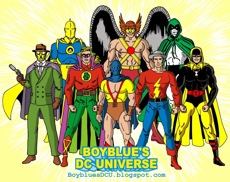 Sandman, Doctor Fate, Green Lantern, Atom, Hawkman, Flash, Spectre, Hourman