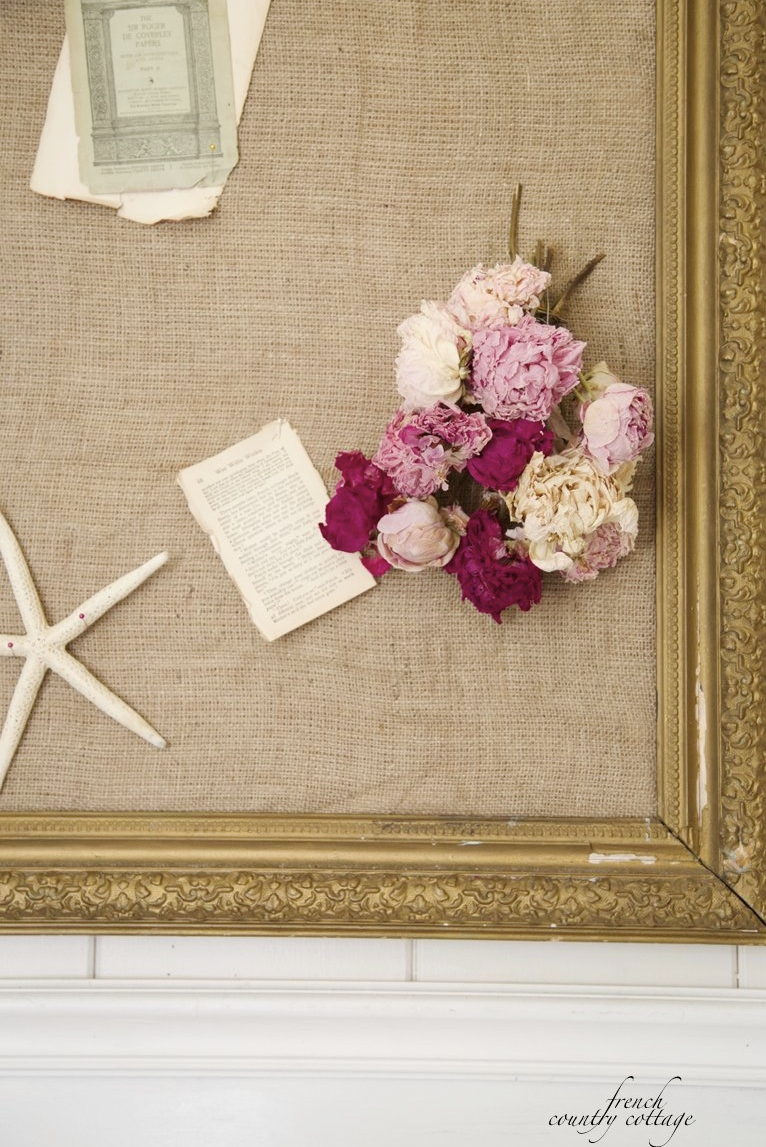 diy burlap covered cork board french country cottage