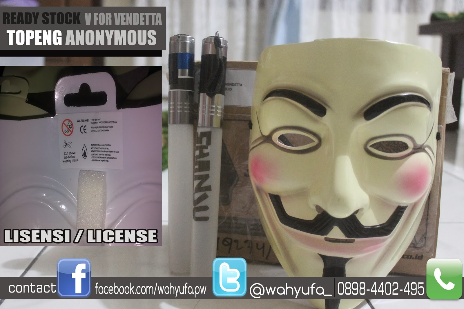 Jual Topeng Anonymous, v fpr vendetta, guy fawkes