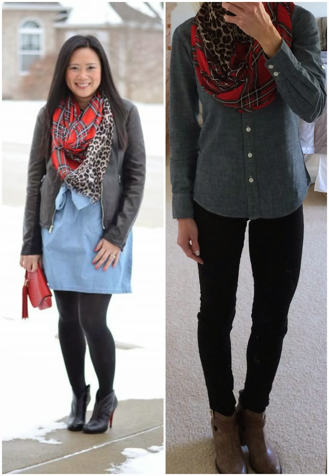 chambray shirt, plaid scarf, leopard scarf, Express extreme stretch