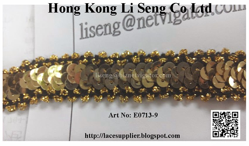 "Golden Sequins Elastic Trims Manufacturer Wholesaler Supplier - "" Hong Kong Li Seng Co Ltd """