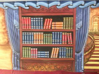 Download contoh background wisuda rak buku dan lemari buku untuk