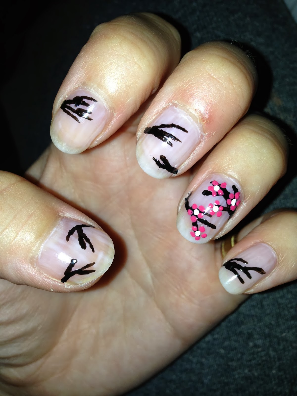 Cherry Blossom Nail Art Diy Jersey Girl Texan Heart