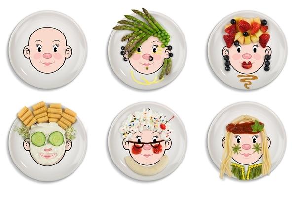 Ms food face kids dinner plate