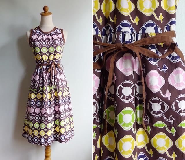vintage sailor cotton wrap dress